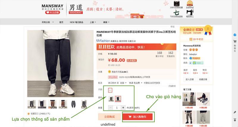 Lựa chọn các thông số về sản phẩm sau đó tiền hành cho vào giỏ hàng